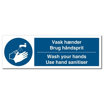 aflangt vask hænder brug haandsprit was your hands sanitiser skilt