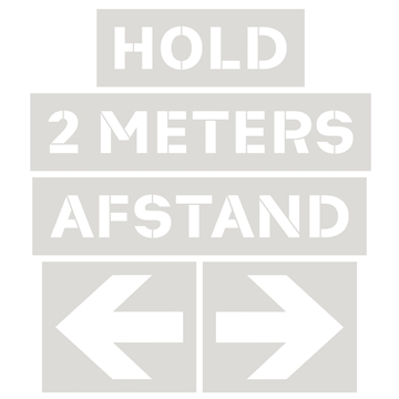 Hold 2 meters afstand stencil skabelon, Plast, 550 x 2000 mm