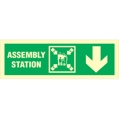 Assembly station arrow down