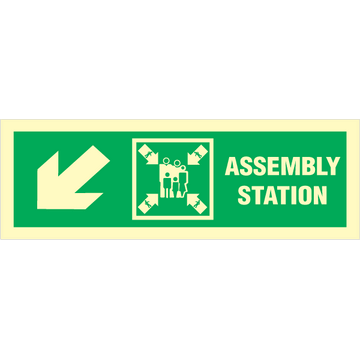 Assembly station arrow down to left corner