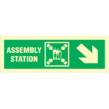 Assembly station arrow down to right corner
