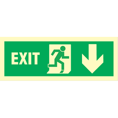 Exit right, arrow down